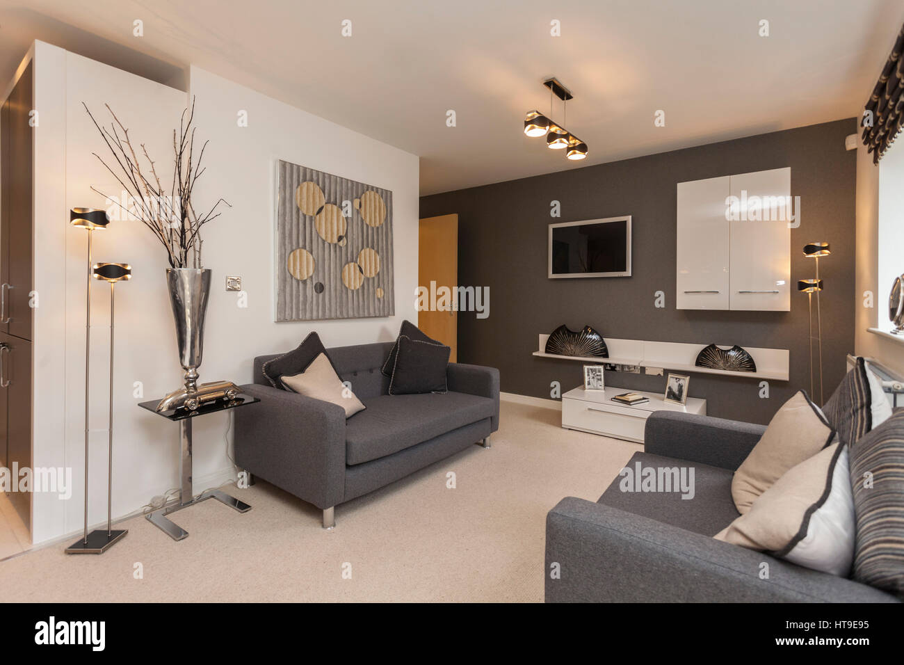 grey sofa living room carpet color schemes with dark brown furniture home interior modern lounge new build cream