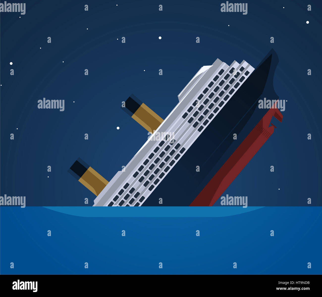 Sinking Ship Illustration Stock Photo