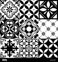 Spanish tiles, Moroccan tiles design, seamless black ...