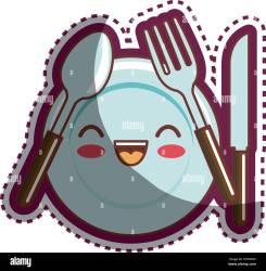 utensils cartoon kitchen character alamy vector shopping cart