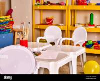 Kindergarten tables and chairs in interior decoration