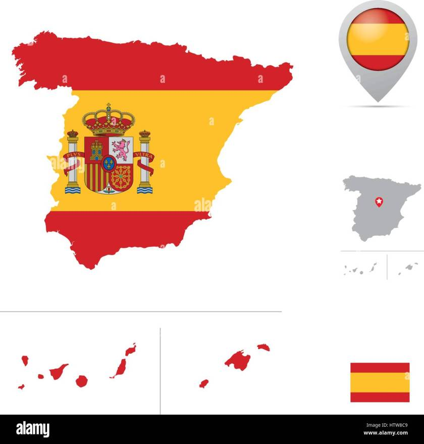 spain map in national flag colors flag marker and