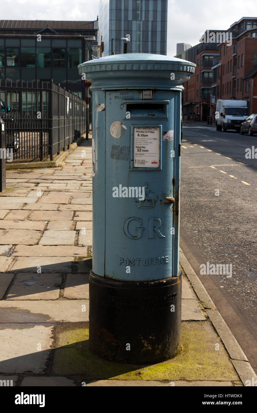 blue airmail post box