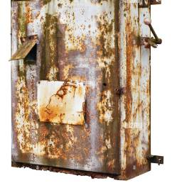 old rusty retro metal box for electrical fuses and switches isolated stock image [ 1068 x 1390 Pixel ]
