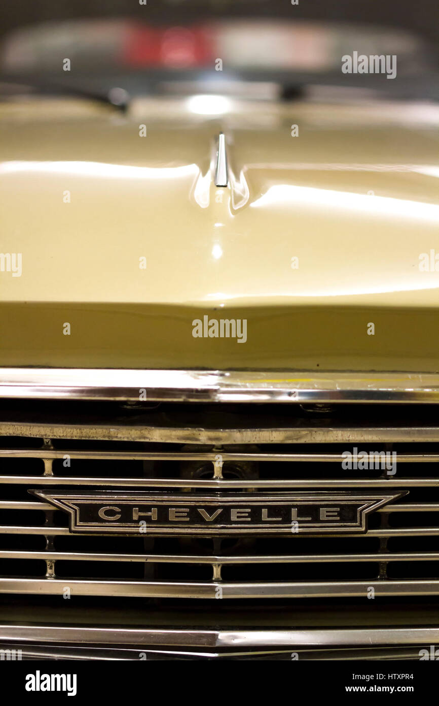 Golden Chevrolet : golden, chevrolet, Chevrolet, Chevelle, Deluxe, Golden., Front, View., Detail, Stock, Photo, Alamy