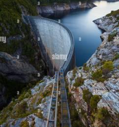 the gordon dam south west tasmania australia stock image [ 866 x 1390 Pixel ]