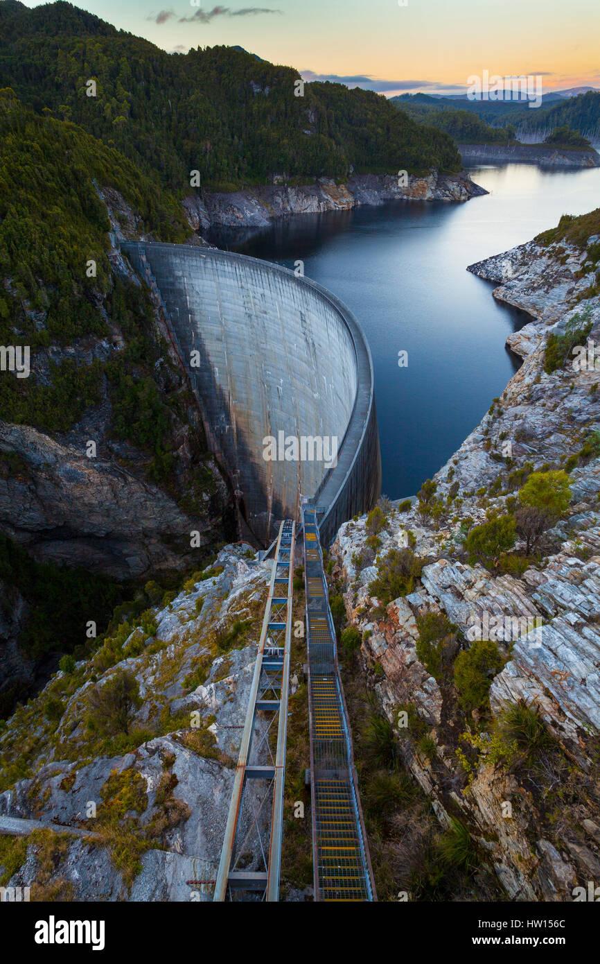 hight resolution of the gordon dam south west tasmania australia stock image