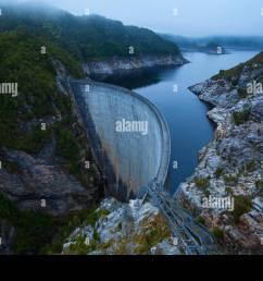 the gordon dam south west tasmania australia stock image [ 1300 x 956 Pixel ]