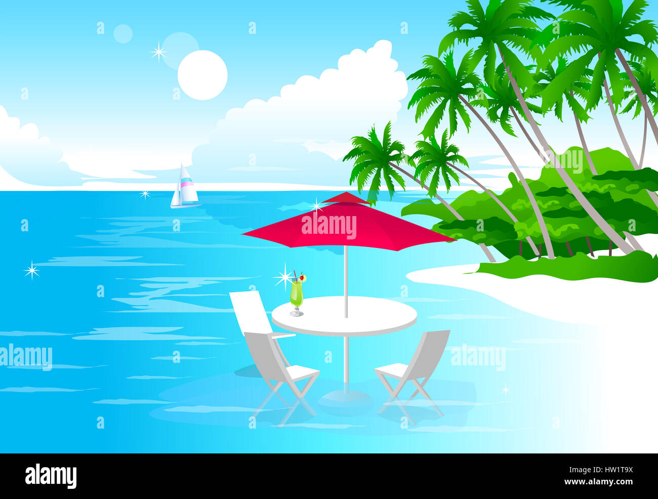 beach chair and umbrella clipart folding kuwait absence stock photo 135880022 alamy cloud color colour image computer graphics day digitally generated glass horizon over