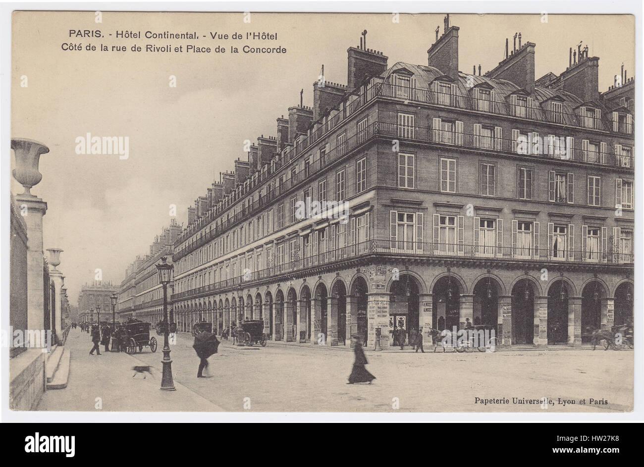 Hotel Continental Rue De Rivoli Paris France Stock Photo