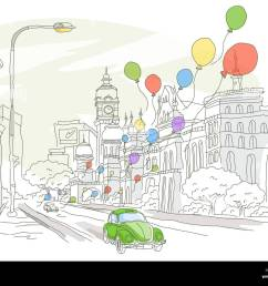 architecture balloon building exterior building structure car city location clipart clock tower color colour color image computer graphics day digitally  [ 1300 x 1039 Pixel ]