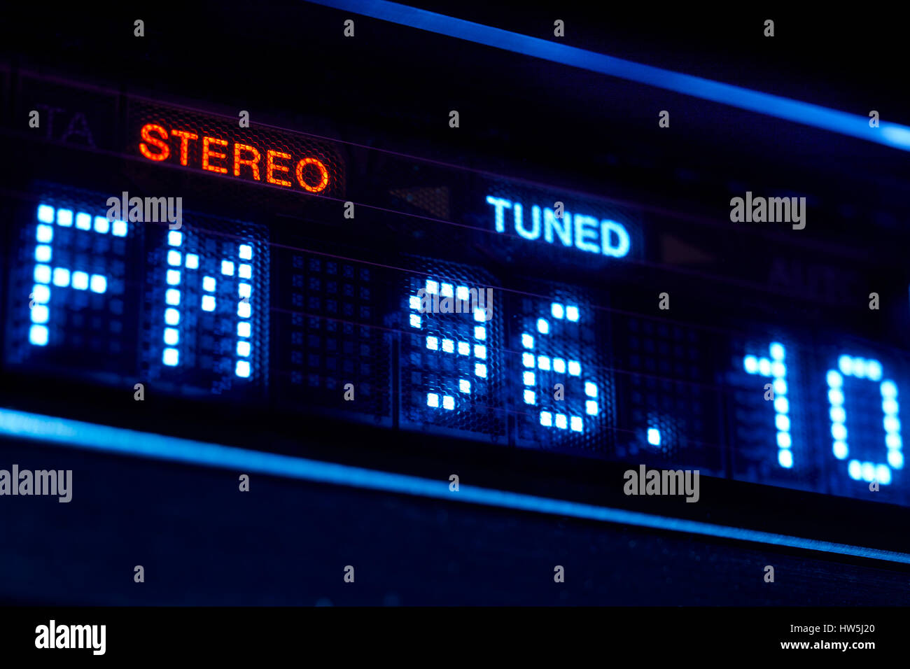 hight resolution of fm tuner radio display stereo digital frequency station tuned horizontal stock image