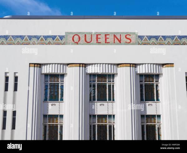 Original Art Deco Facade Of Queens Cinema Queensway Stock Royalty Free