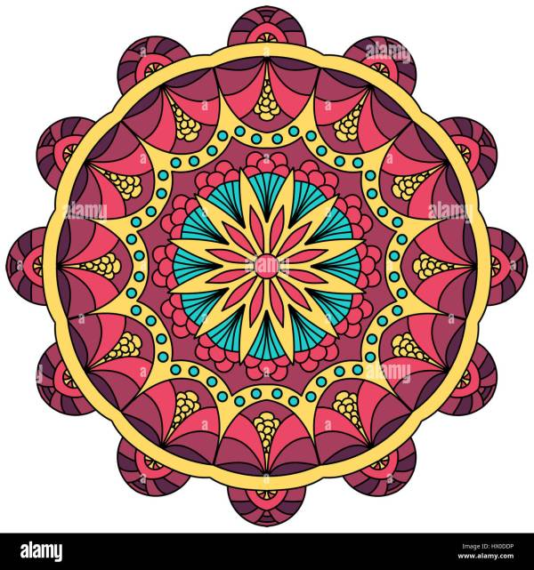 Mandala illustration in red yellow and blue Colored