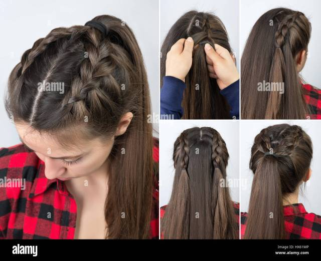 simple braided hairstyle tutorial step by step. easy
