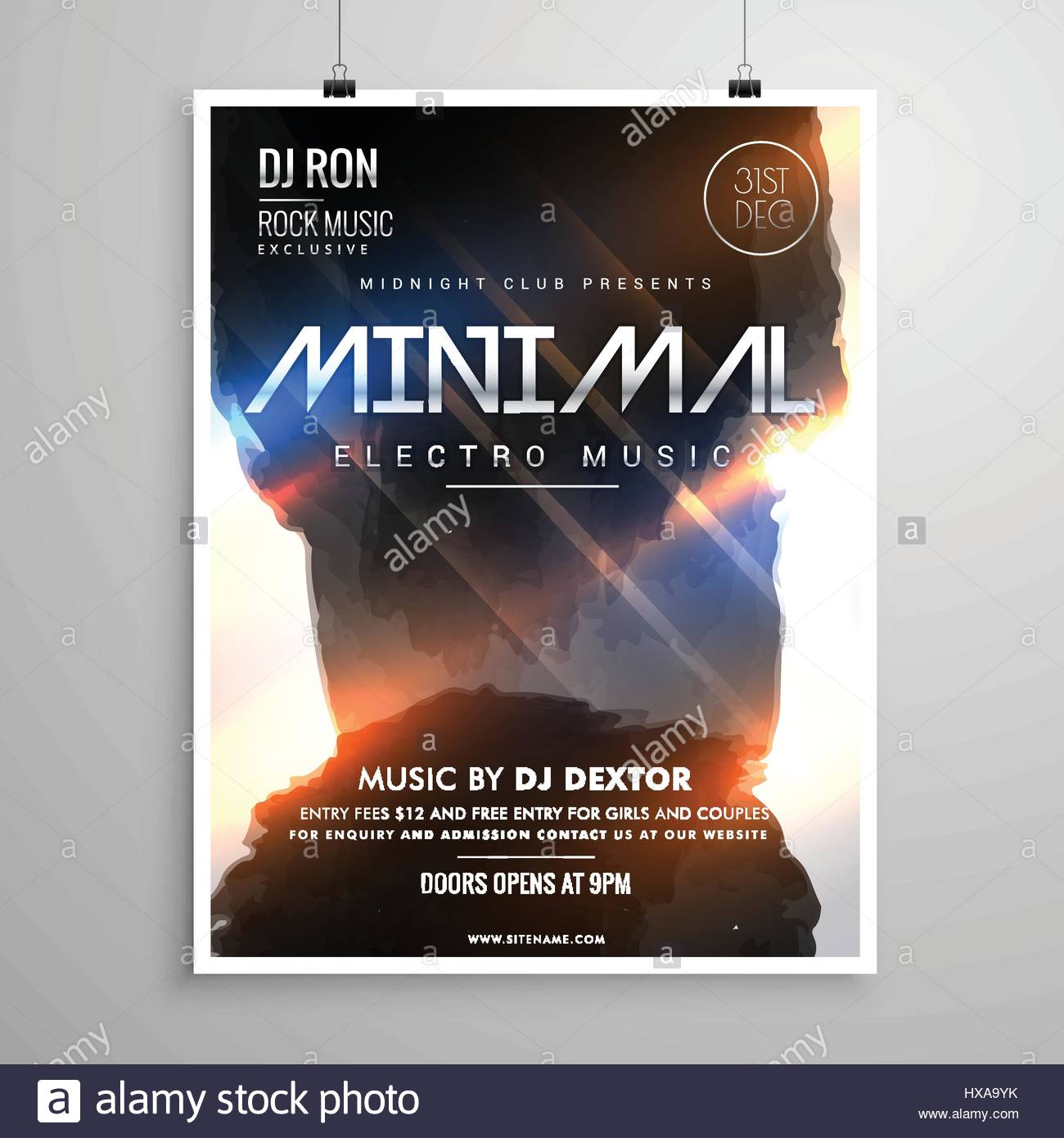 Minimal Grunge Style Music Party Flyer Template With Glowing Lights - Stock  Image