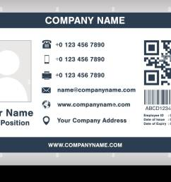 simple blue employee id card template vector [ 1300 x 974 Pixel ]