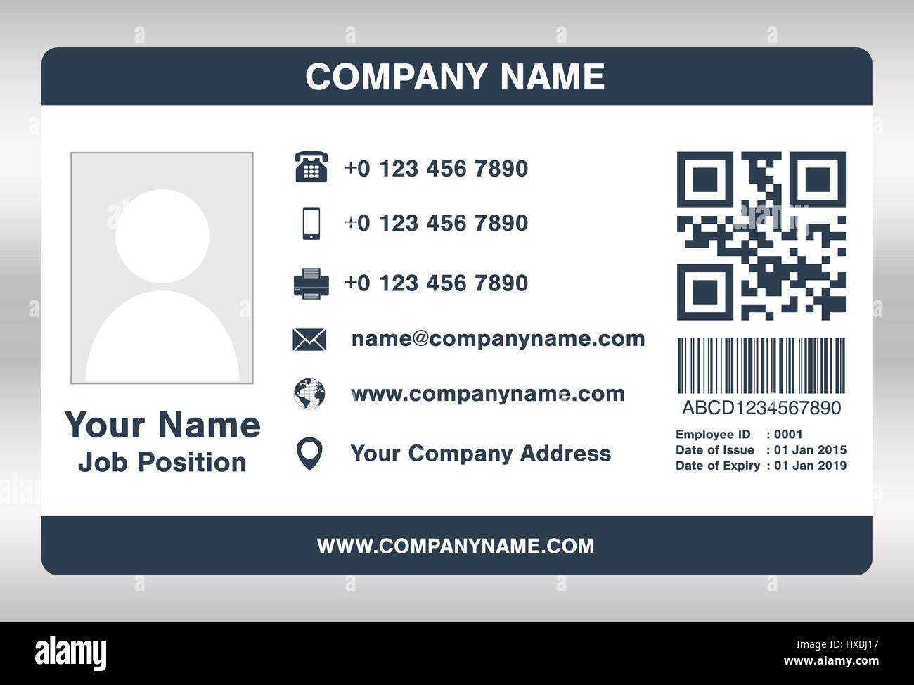hight resolution of simple blue employee id card template vector