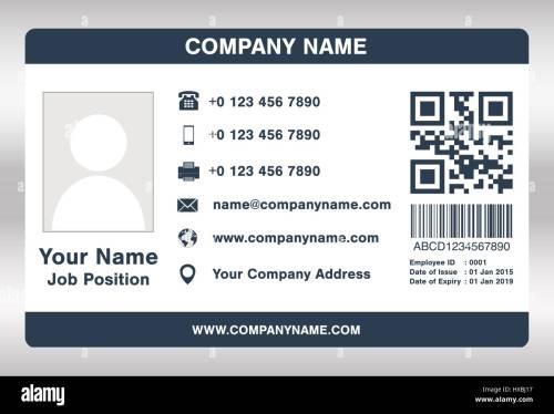 small resolution of simple blue employee id card template vector