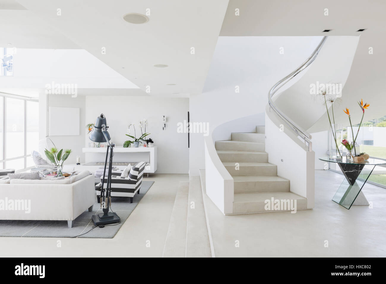 white contemporary living room apartment decorating ideas pictures modern luxury home showcase spiral staircase and