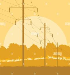 energy distribution high voltage power line tower sunset landscape with wires and trees vector background [ 919 x 1390 Pixel ]