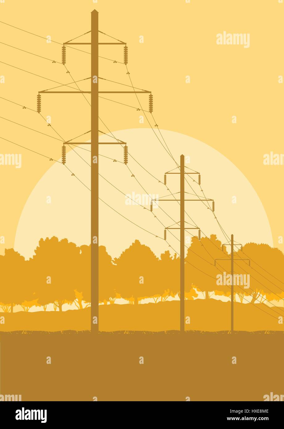 medium resolution of energy distribution high voltage power line tower sunset landscape with wires and trees vector background