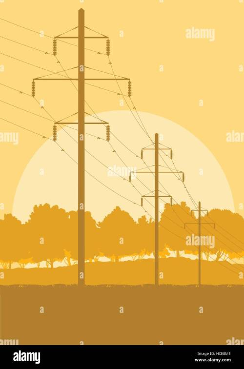 small resolution of energy distribution high voltage power line tower sunset landscape with wires and trees vector background