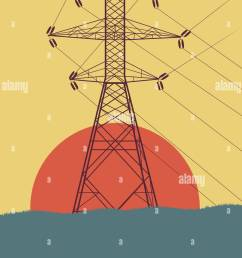 energy distribution high voltage power line tower with wires vector background [ 1011 x 1390 Pixel ]