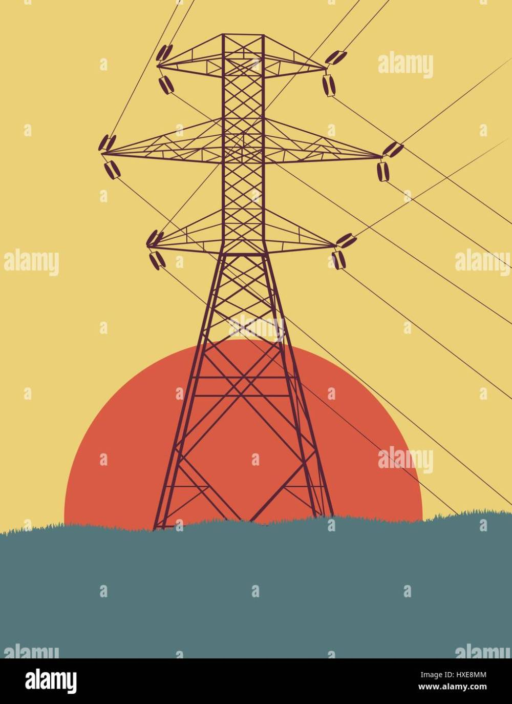 medium resolution of energy distribution high voltage power line tower with wires vector background