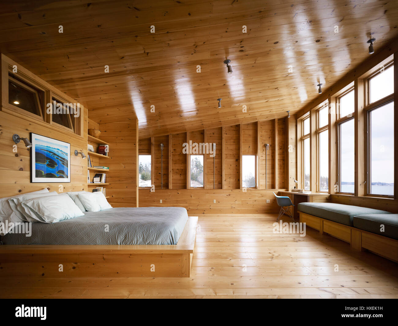 View Of The Master Bedroom Upstairs His And Hers Desks Flanking The Stock Photo Alamy