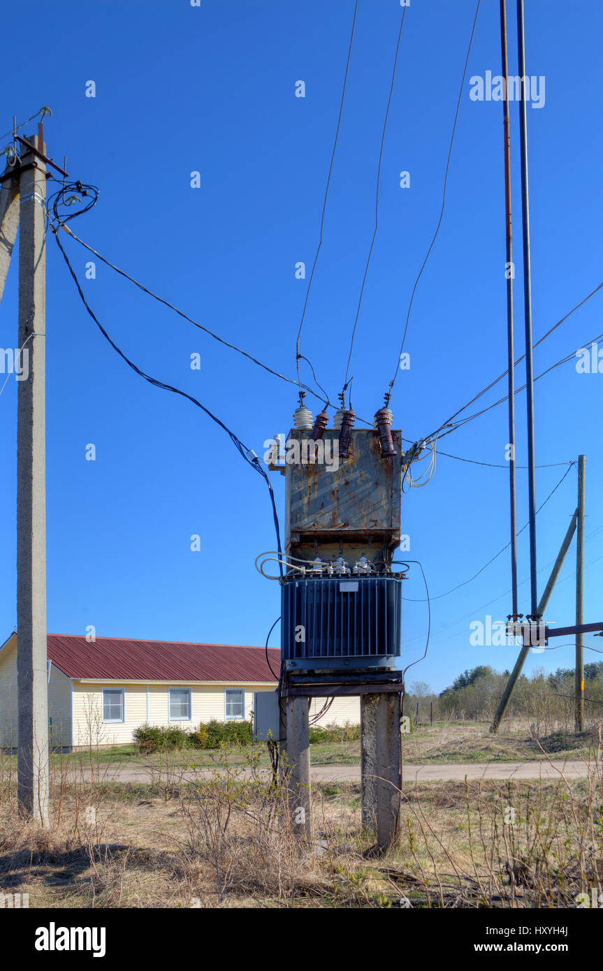 hight resolution of old electrical power distribution transformer substation in the village near the new cottage