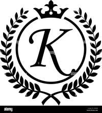 Vintage Letter K initial inside Laurel wreath symbol ...
