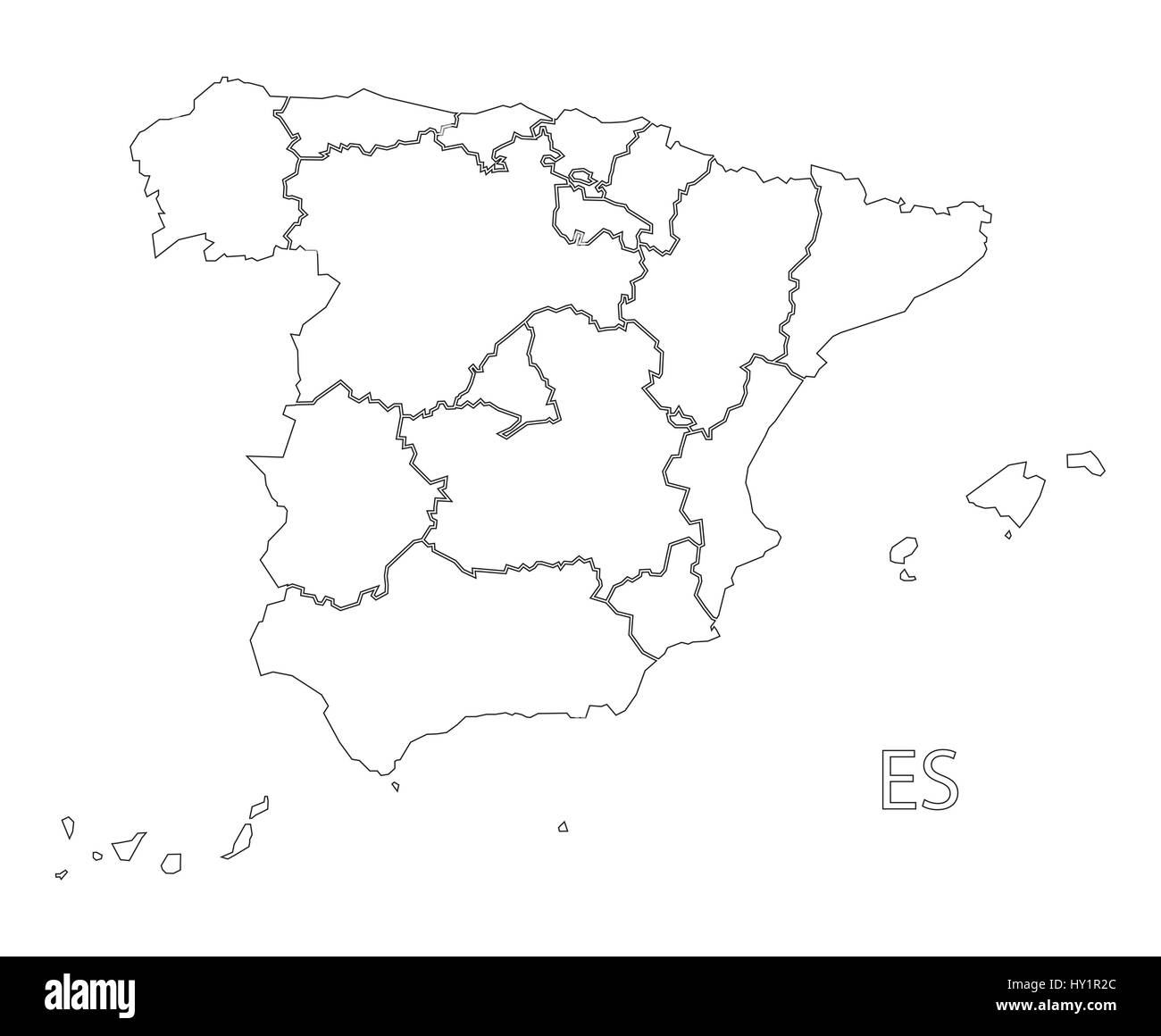 Spain Outline Silhouette Map Illustration With Provinces