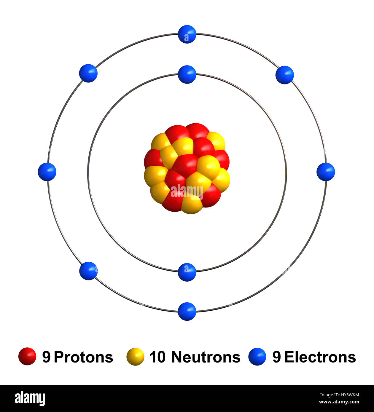 hight resolution of 3d render of atom structure of fluorine isolated over white background protons are represented as red