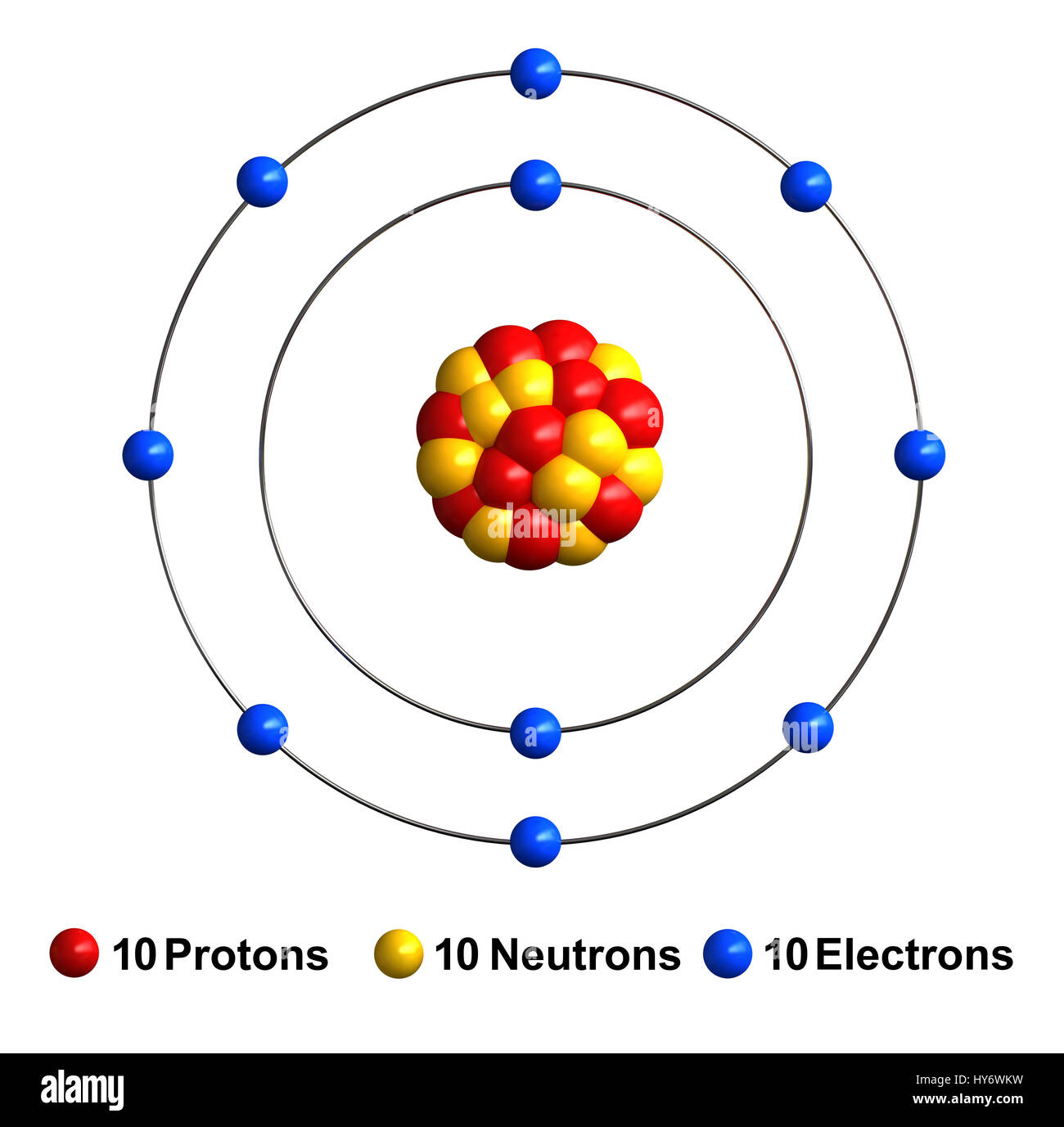 hight resolution of 3d render of atom structure of neon isolated over white background protons are represented as red spheres neutron as yellow spheres electrons as blu