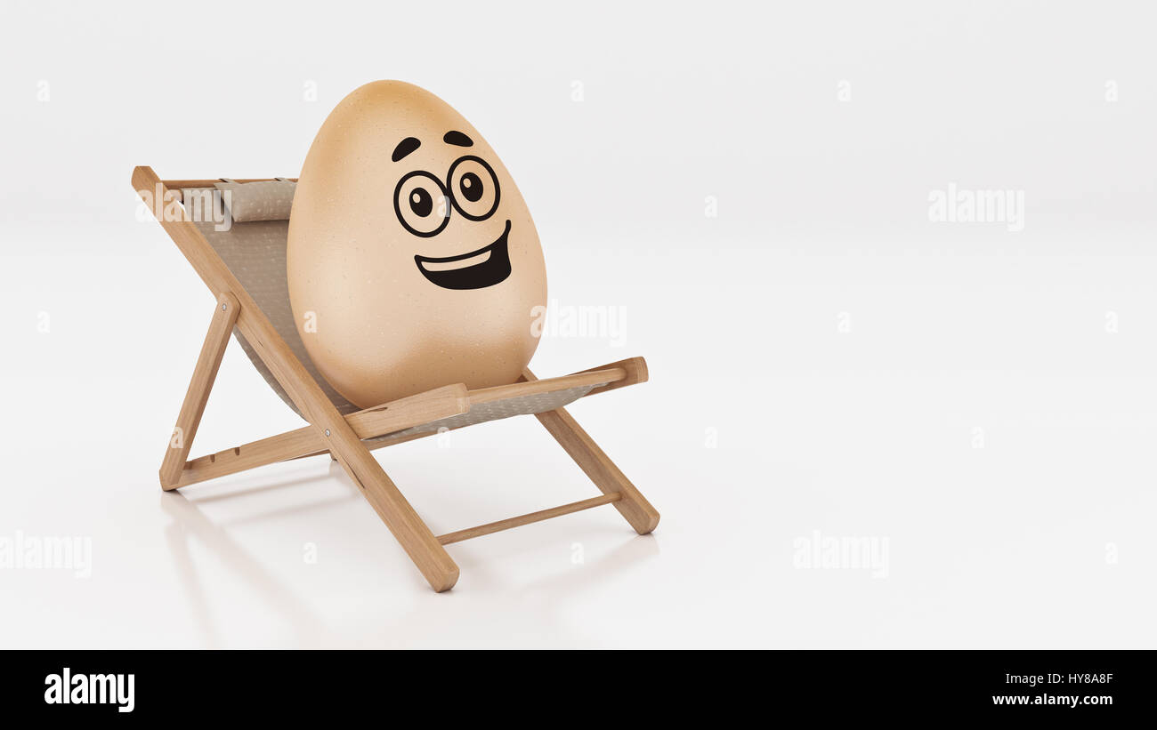 lay down beach chairs bird cage chair egg with on summer isolated white abstract background for easter holiday concept 3d rendering