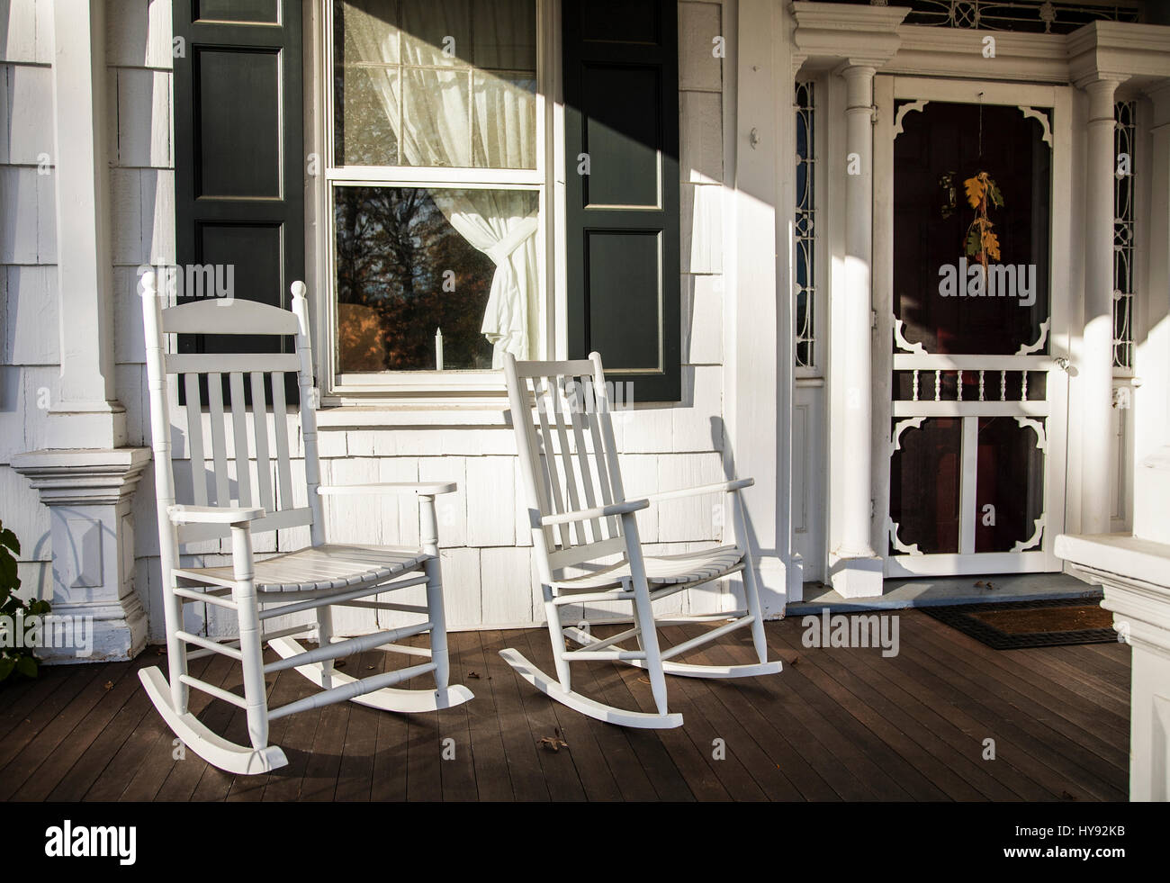 old fashioned rocking chairs most expensive chair lift front porch two white window and door monmouth county freehold new jersey usa