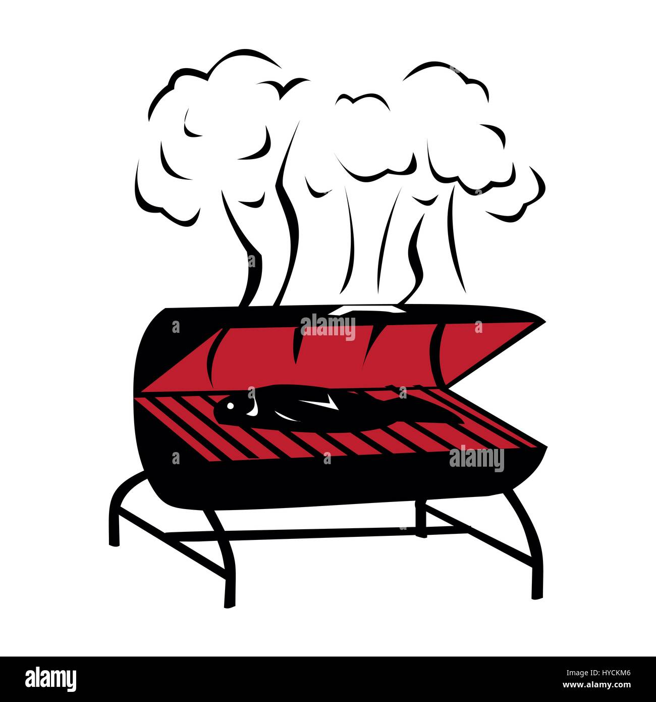 Vector black BBQ Grill icon on white background Stock