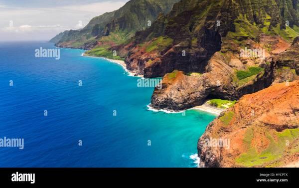 Aerial Landscape View Of Honopu Arch Na Pali Coastline Kauai Stock 137349658 - Alamy