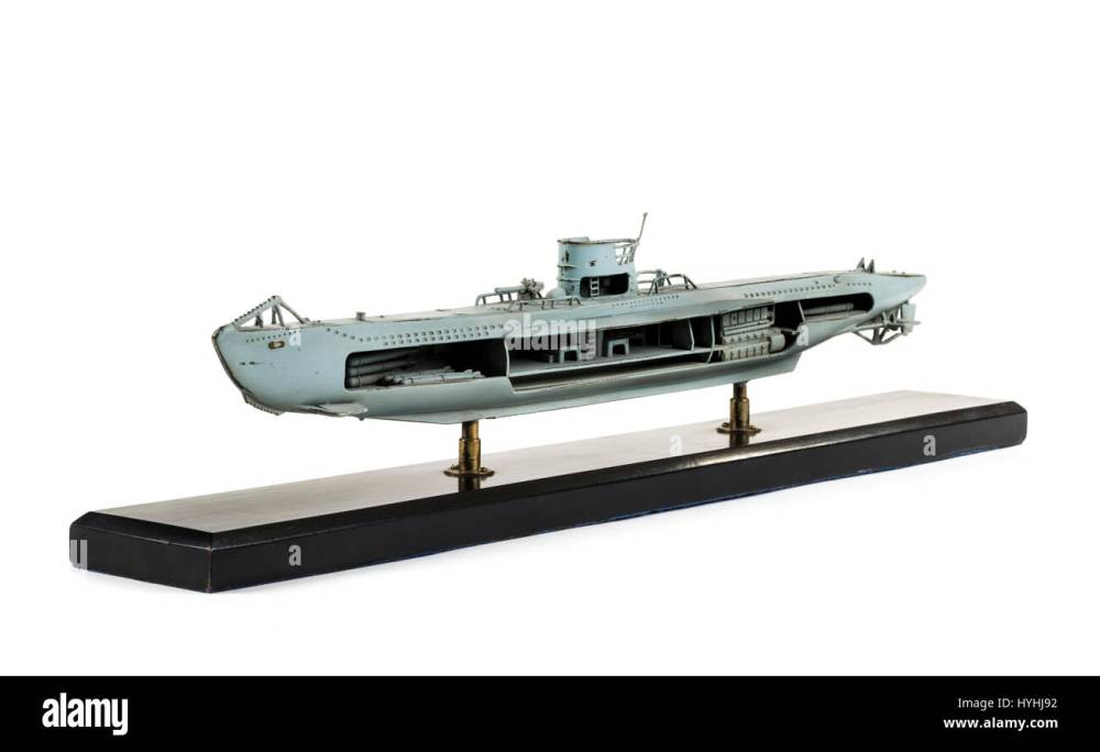 medium resolution of brass cutaway model of a ww2 german u boat painted in grey with detailed interior