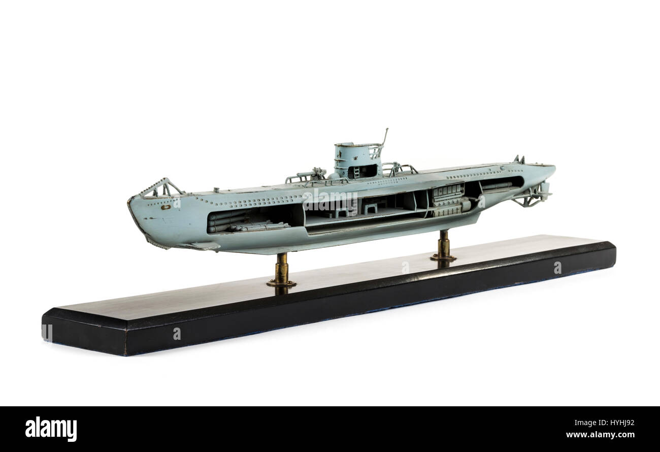 hight resolution of brass cutaway model of a ww2 german u boat painted in grey with detailed interior
