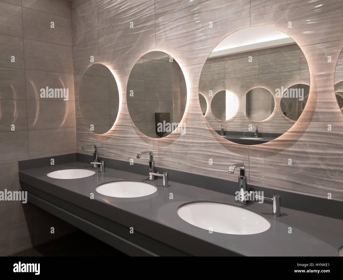 Modern public washroom interior Stock Photo: 137544569