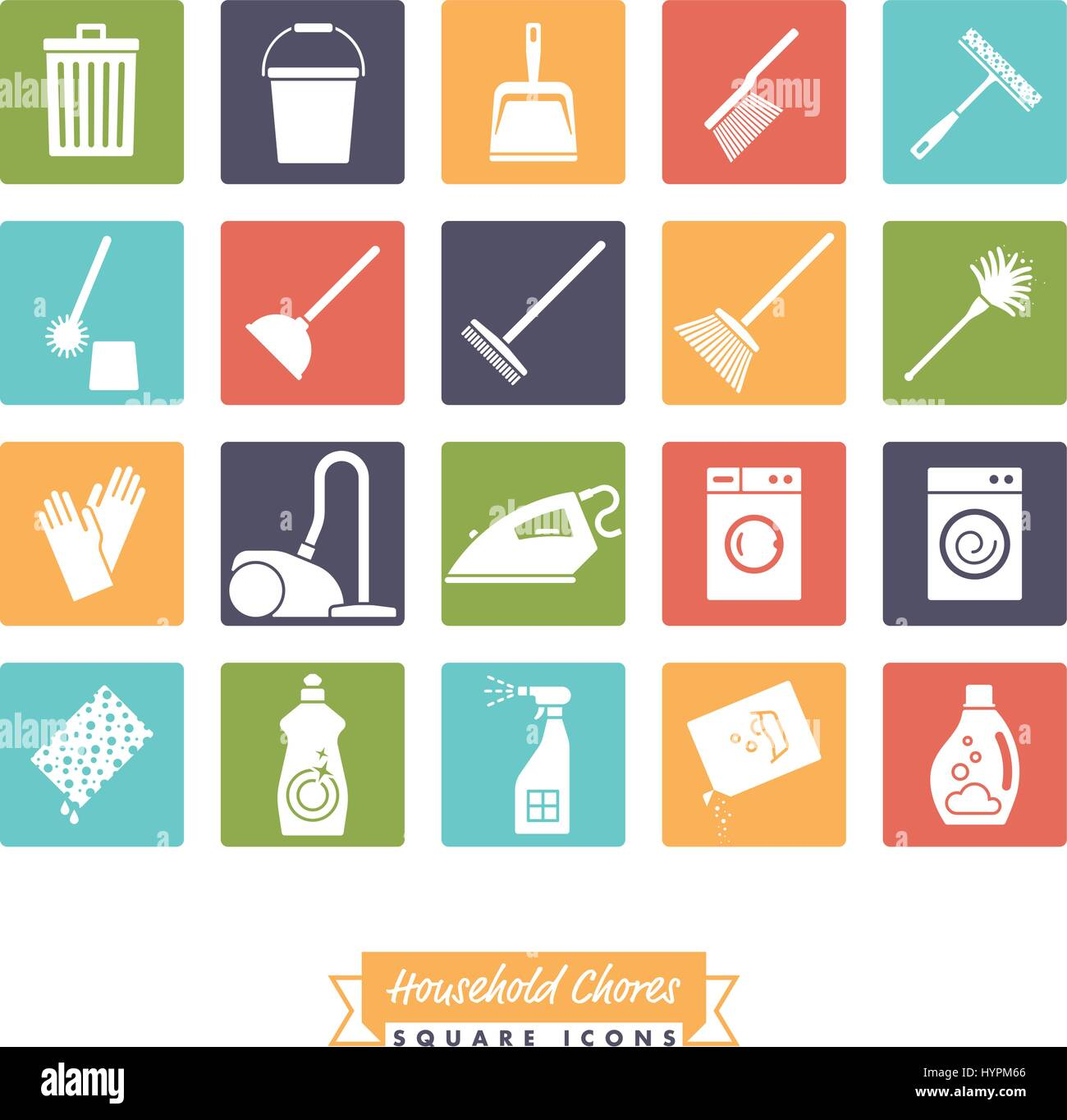 Collection Of 20 Household Chores Icons Negative In