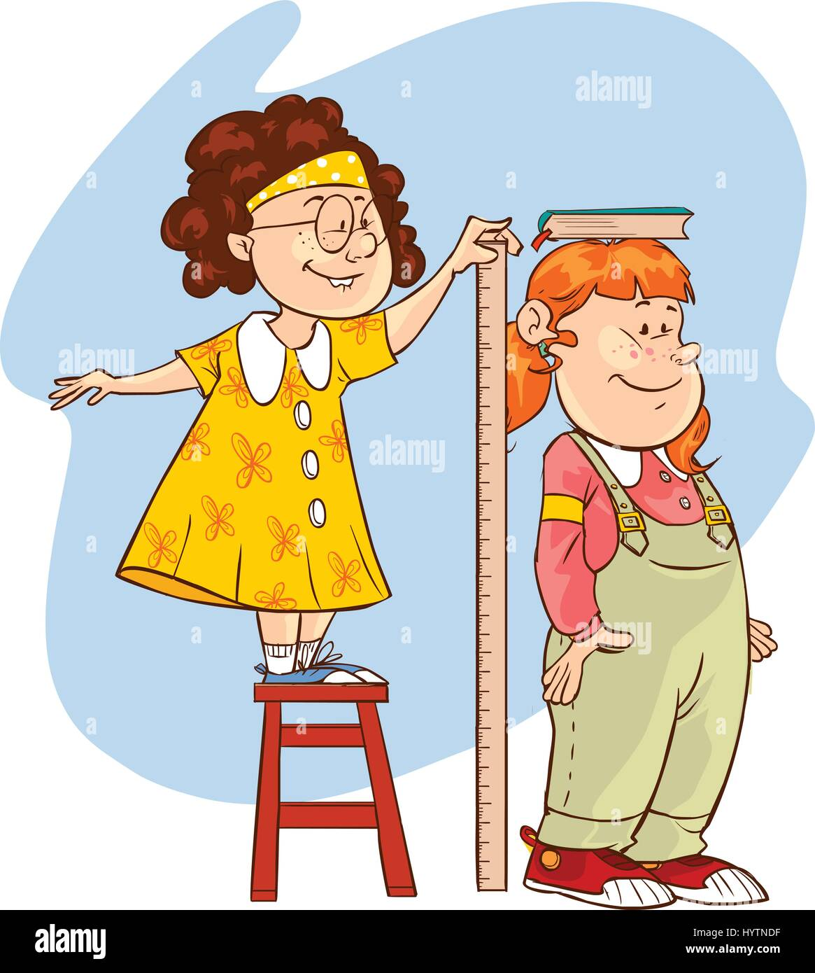 Vector Illustration Of A Length Measuring Children Stock