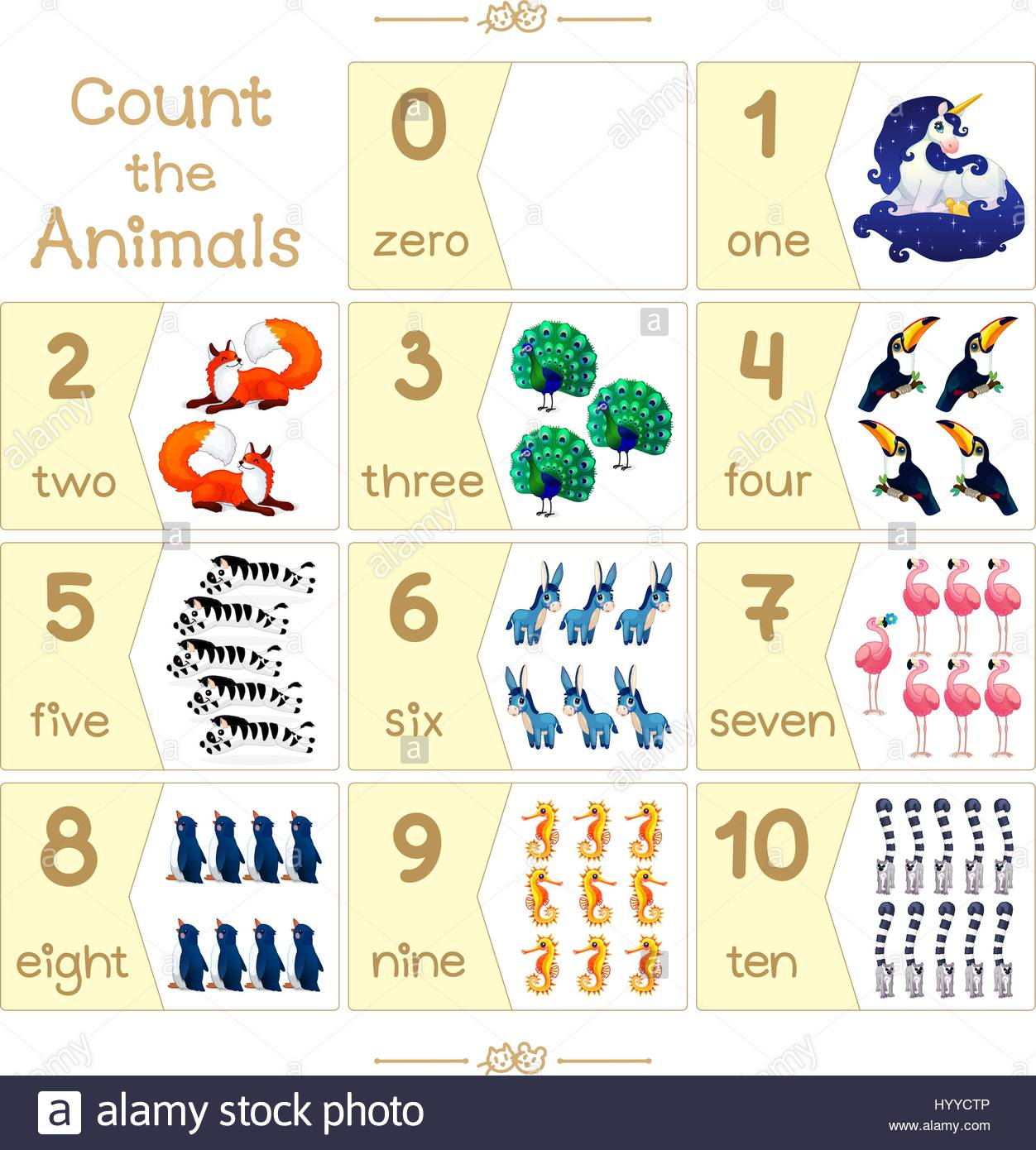 Puzzle Cards Set Count Numbers 0 10 Addition Series