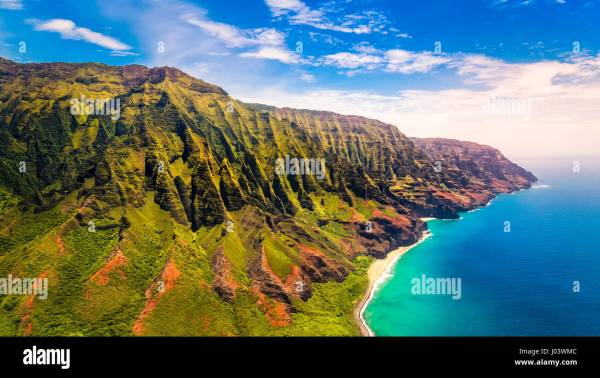Aerial Landscape View Of Spectacular Na Pali Coast Kauai