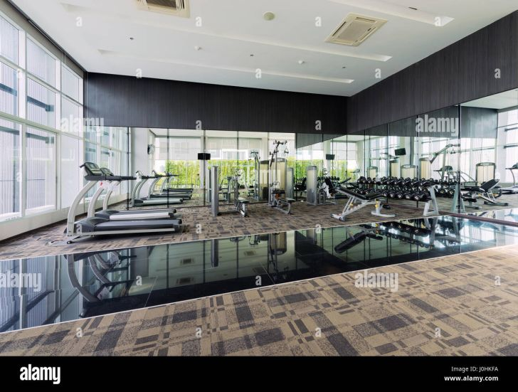 Interior Design: Interior Design Exercise Room. Stock Photo Fitness Center Interior Design Gym Full Hd Exercise Room For Mobile High Quality Royalty