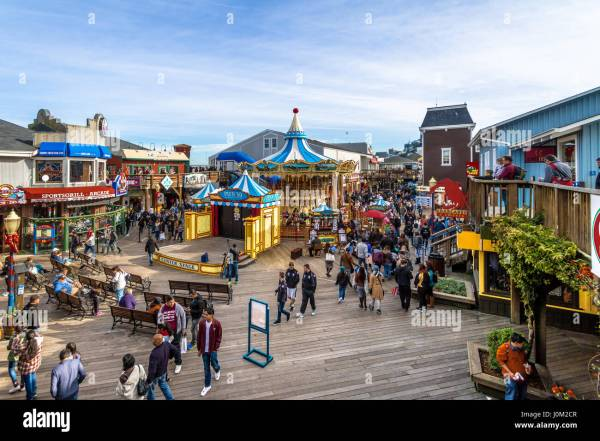 Pier 39 Stores And Carousel In Fishermans Wharf - San
