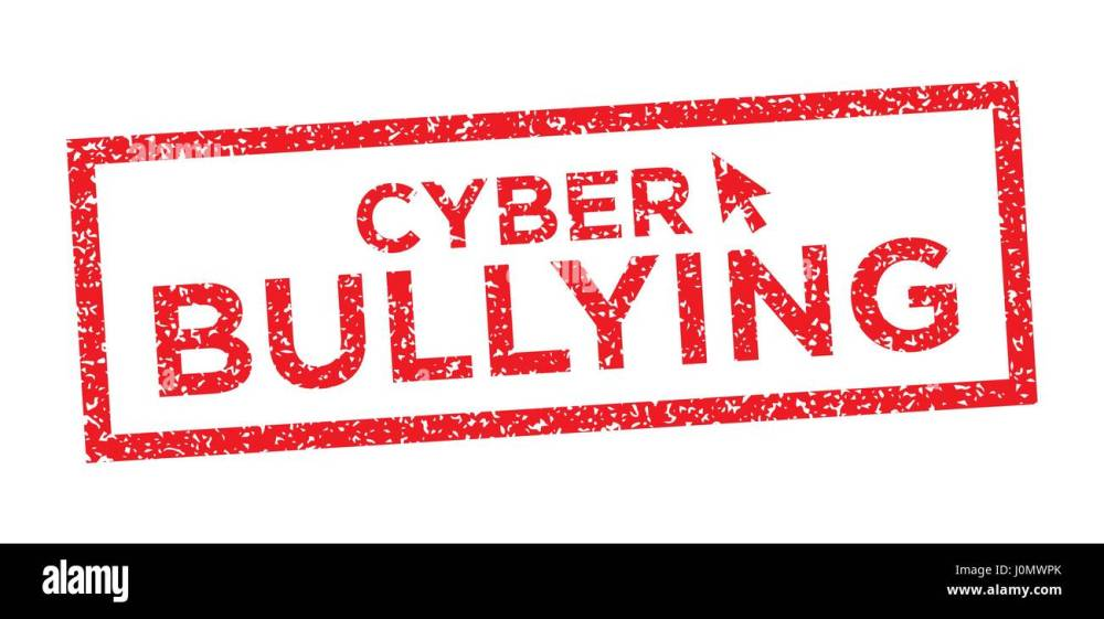 medium resolution of cyber bullying graphic with victim and troll stock image