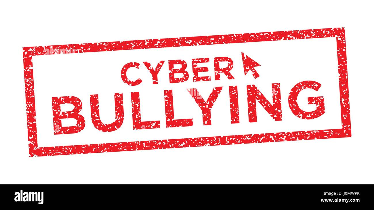 hight resolution of cyber bullying graphic with victim and troll stock image